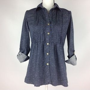 Charter Club Navy Blue Blouse Pleated Polka Dot